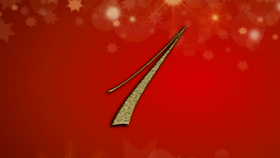 number 1 on red Christmas background
