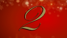 number 2 on red Christmas background