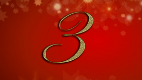 number 3 on red Christmas background