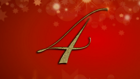 number 4 on red Christmas background