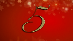 number 5 on red Christmas background