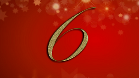number 6 on red Christmas background