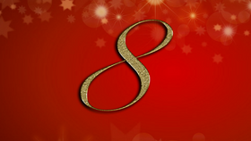 number 8 on red Christmas background