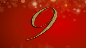 number 9 on red Christmas background