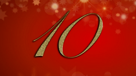 number 10 on red Christmas background