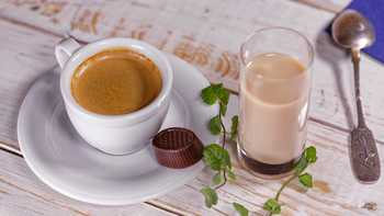 cup of coffee with glass of milk
