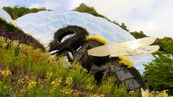 eden project dome with bee statue in front, on a flowery hill