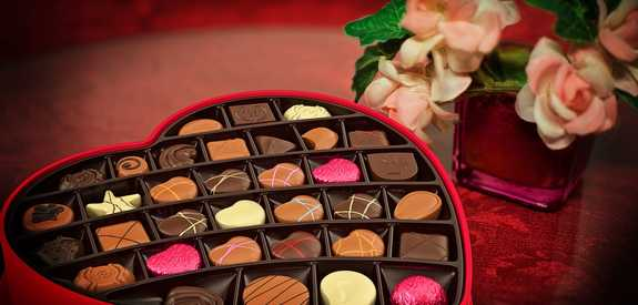 valentines day chocolates and flowers