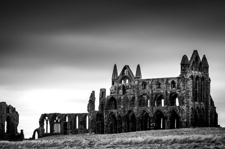 whitby abbey ruins in black and white